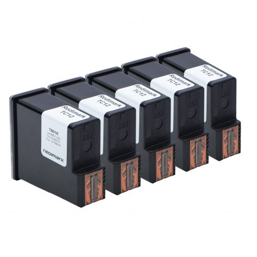 Five Redimark T801K XL production size ink cartridges