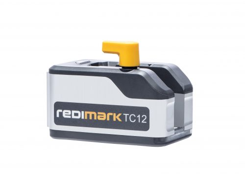 Redimark print head assembly on white background