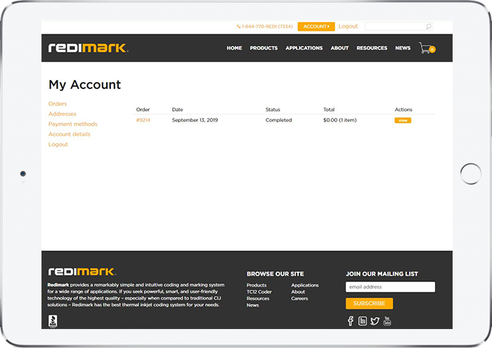 Redimark customer account portal on tablet